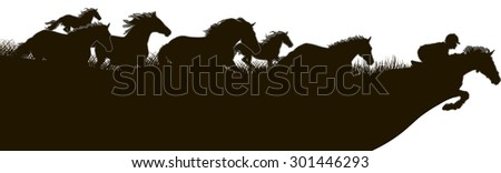 Horses run for the horse and rider. black and white drawing of horses running on the field - stock vector