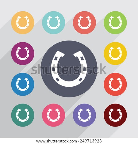 Horseshoe circle, flat icons set. Round colorful buttons  - stock vector