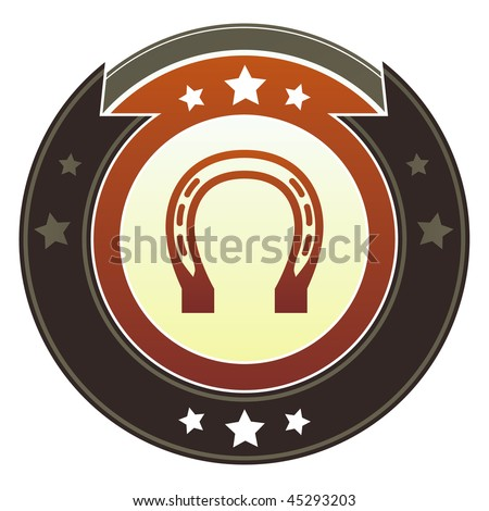 Horseshoe, luck, rodeo, or Western icon on round red and brown imperial vector button with star accents - stock vector
