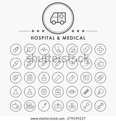 hospital and medical line icons with circle button - stock vector