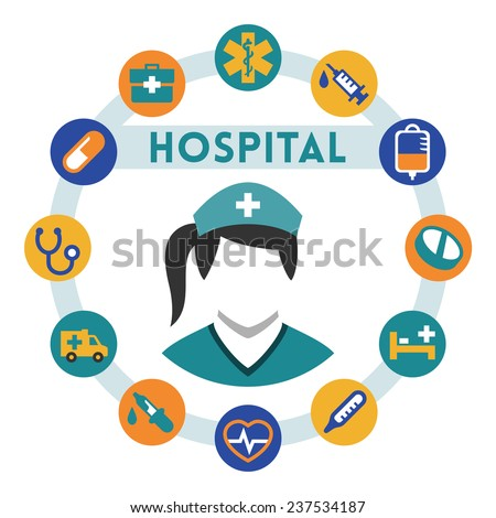 Hospital and nurse related vector infographic, flat style - stock vector