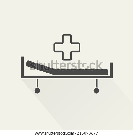 Hospital bed and cross, vector icon - stock vector
