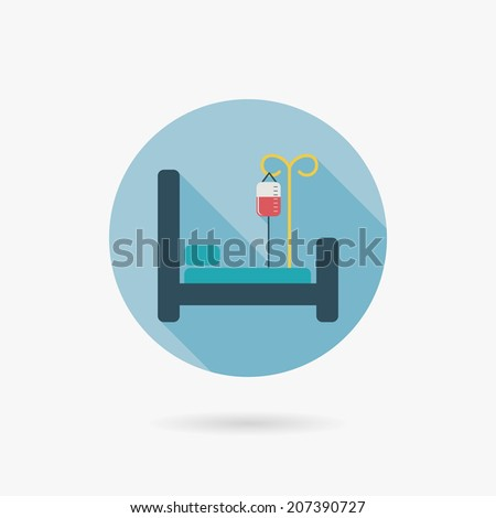 hospital bed Flat style Icon with long shadows - stock vector