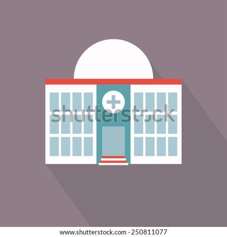 Hospital building icon. Flat style image. Vector illustration - stock vector