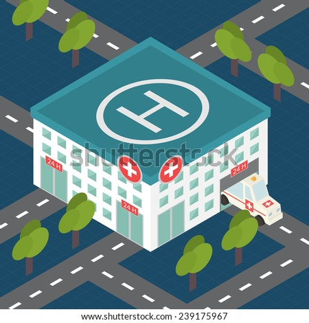 Hospital building, medical icon. Isometric 3d flat design vector - stock vector