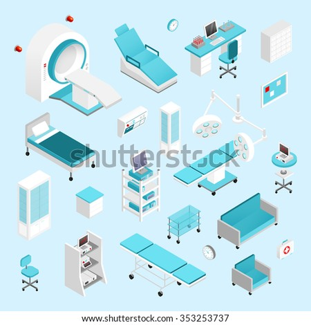 Hospital equipment and furniture isometric icons set isolated vector illustration - stock vector