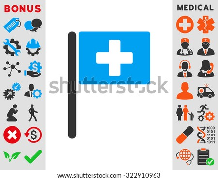 Hospital Flag vector icon. Style is bicolor flat symbol, blue and gray colors, rounded angles, white background. - stock vector