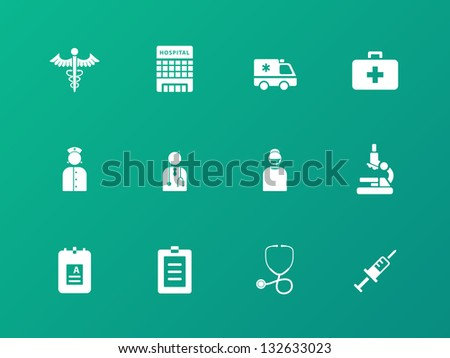 Hospital icons on green background. Vector illustration. - stock vector