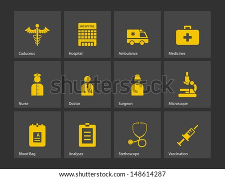 Hospital icons. Vector illustration. - stock vector
