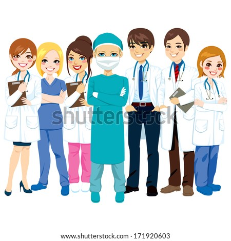 Hospital medical team group made of doctors, nurses and surgeon standing smiling with arms crossed - stock vector