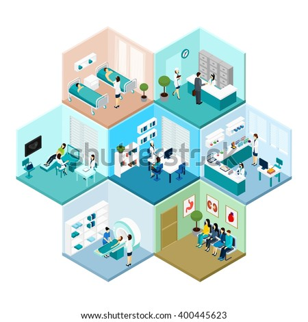 Hospital reception examination and waiting rooms interior tessellated honeycomb hexagonal isometric composition pattern abstract vector isolated illustration - stock vector