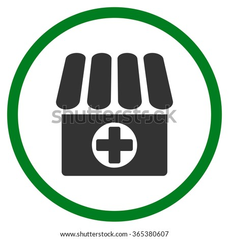 Hospital vector icon. Style is bicolor flat circled symbol, green and gray colors, rounded angles, white background. - stock vector