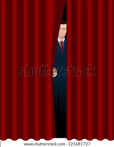 Host Presenter behind theater curtain theatrical stage opening. Vector illustration cartoon. - stock vector
