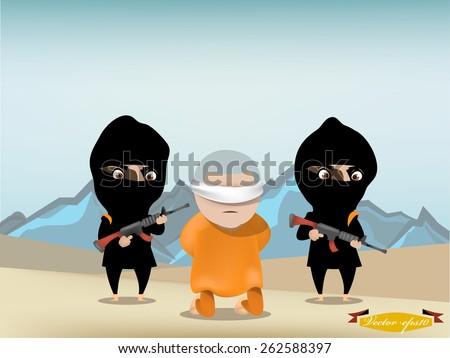 hostage is kneeling in front of terrorist with their gun - stock vector
