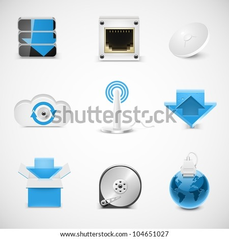 hosting and networking vector icons - stock vector