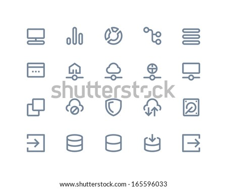 Hosting and wireless network icons. Line series - stock vector