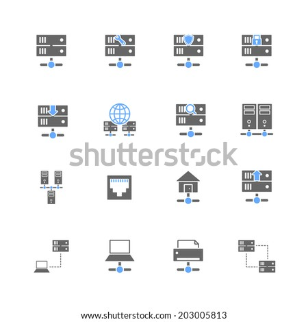 Hosting computer network icons set with server data center domain elements isolated vector illustration - stock vector