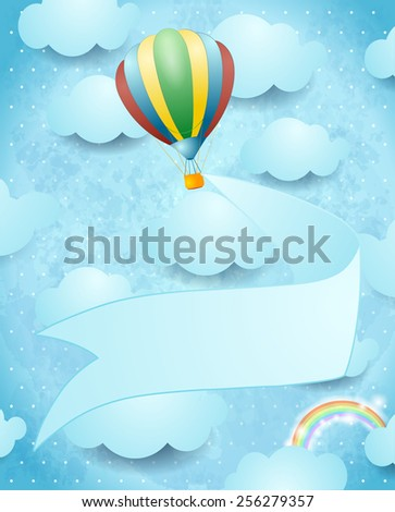 Hot air balloon and banner on sky background, vector eps10 - stock vector