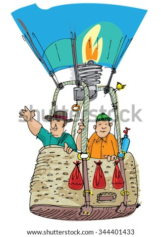 hot air balloon basket - cartoon - stock vector