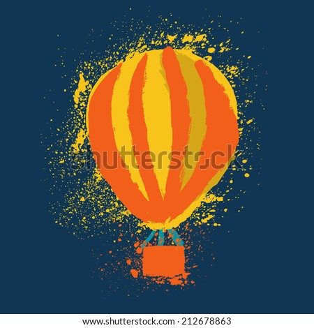 Hot Air Balloon. Cute Hand Drawn Vector illustration. - stock vector
