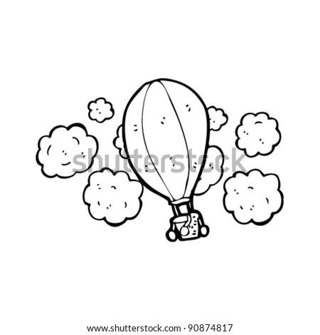 hot air balloon flying cartoon - stock vector