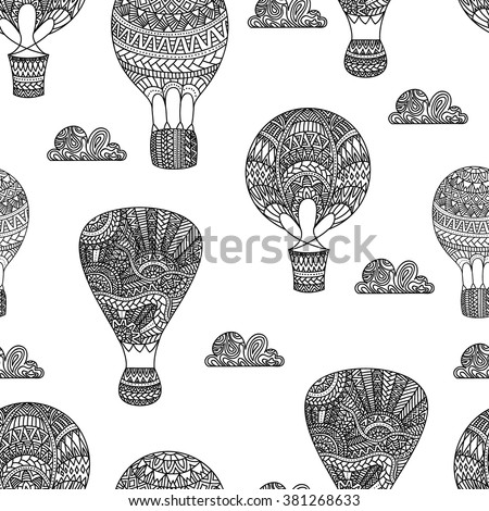 Hot air balloon, gas balloons, aircraft. Seamless black and white background. Ethnic and tribal motifs. Drawing by hand, doodle. Sweet vintage postcard. Vector illustration. - stock vector