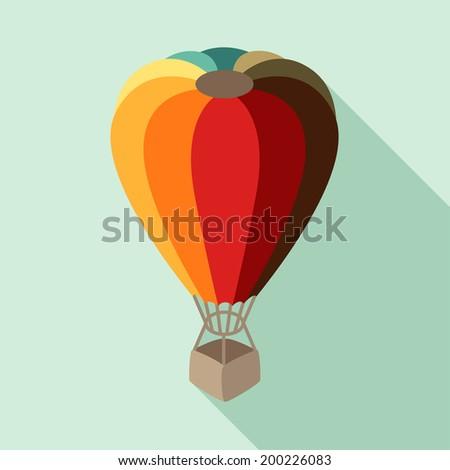 Hot air balloon in flat design style. - stock vector