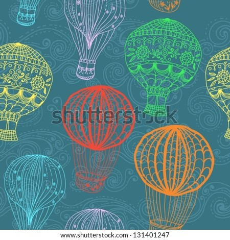 hot Air Balloon in sky, hand drawn seamless Background for Design, vector - stock vector