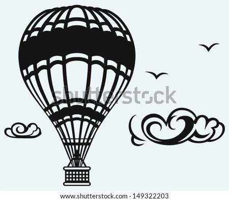 Hot air balloon in the sky isolated on blue background - stock vector