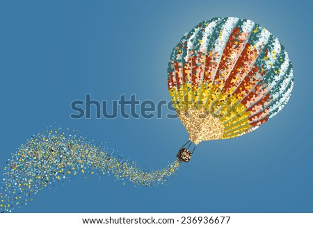 Hot air balloon in the sky vector.Abstract circles - stock vector