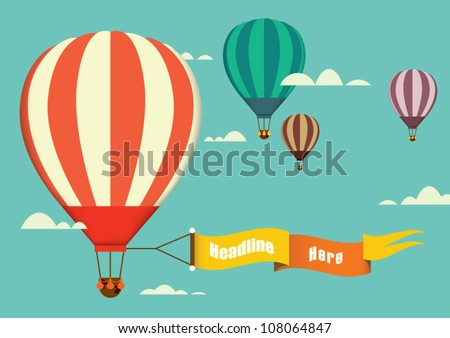 hot air balloon in the sky vector/illustration/background/greeting card - stock vector