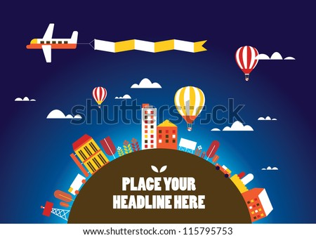 hot air balloon in the sky vector/illustration /background/greeting card - stock vector