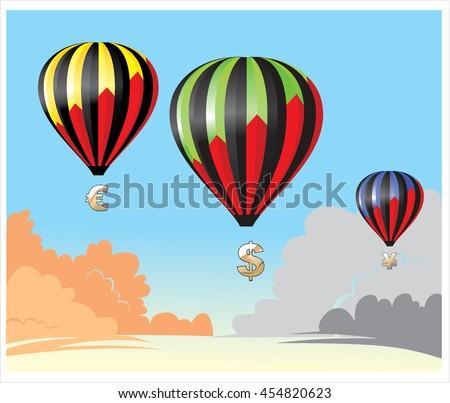 hot air balloon in the sky vector/symbol money - stock vector