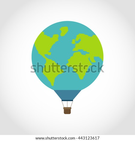 Hot air balloon like planet Earth - stock vector