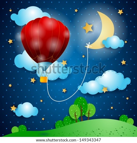 Hot air balloon on fantasy landscape, vector - stock vector