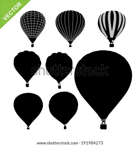 Hot air balloon silhouettes vector  - stock vector