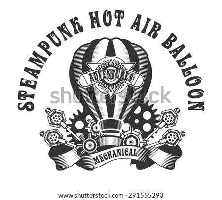 Hot Air Balloon-style steam punk black and white badge on a white background - stock vector