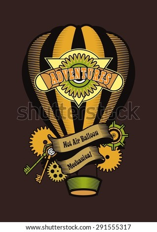 Hot Air Balloon-style steam punk soars in space - stock vector