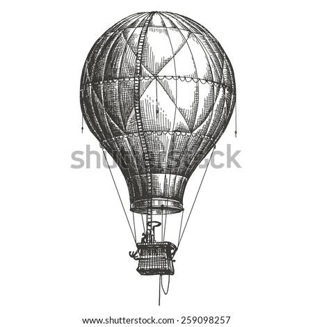 Hot Air Balloon vector logo design template. retro airship or transport icon. - stock vector