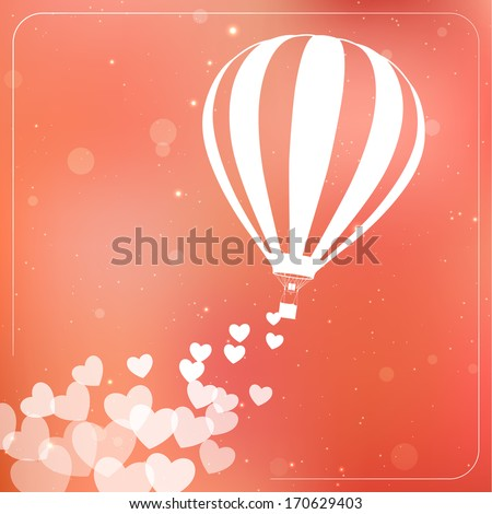 Hot air balloon with flying hearts. Romantic silhouette concept card - stock vector