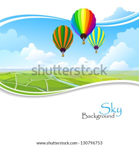 Hot air balloons , Blue sky and Green fields - stock vector