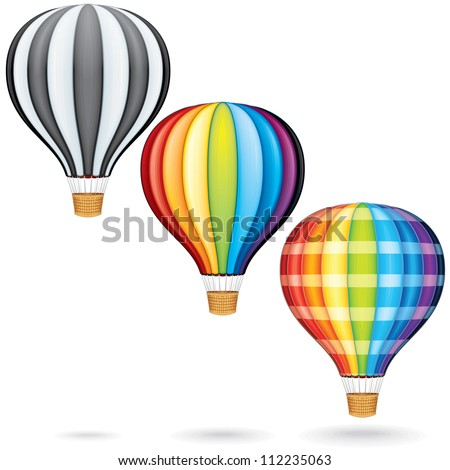 Hot Air Balloons. Detailed Vector Collection - stock vector