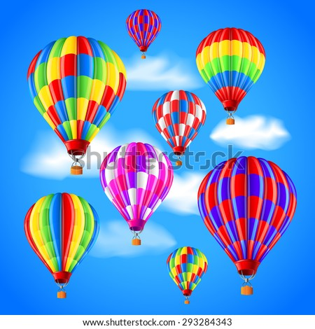 Hot air balloons in the sky photo realistic vector background - stock vector