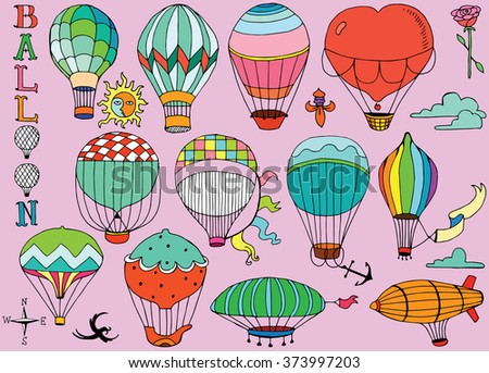 Hot Air Balloons in the sky with text - stock vector