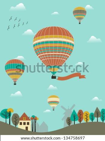Hot air balloons over the country. Vector - stock vector