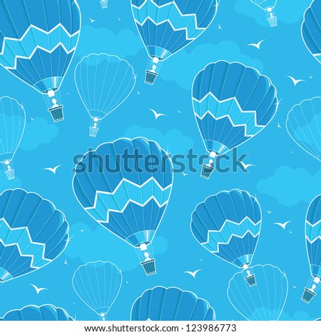 Hot air balloons seamless pattern background - stock vector