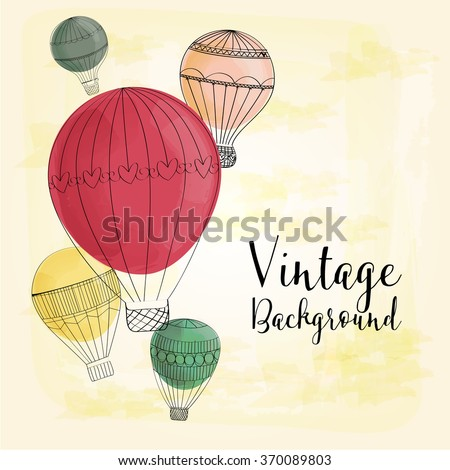 Hot Air Balloons vintage background - stock vector