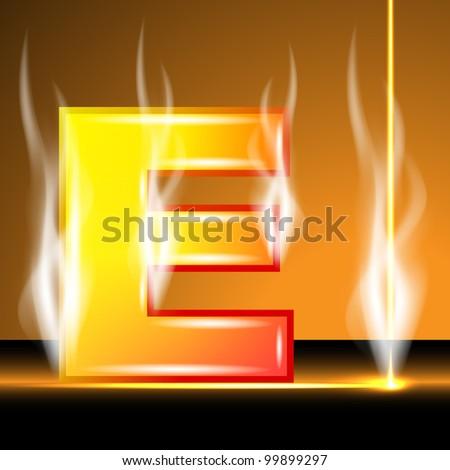 Hot alphabet of devil, vector illustration, eps10, 3 layers; Bonus: vector smoke and laser beam! - stock vector