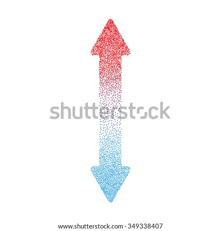 Hot and Cold Double Arrow Made of Small Random Dots - stock vector