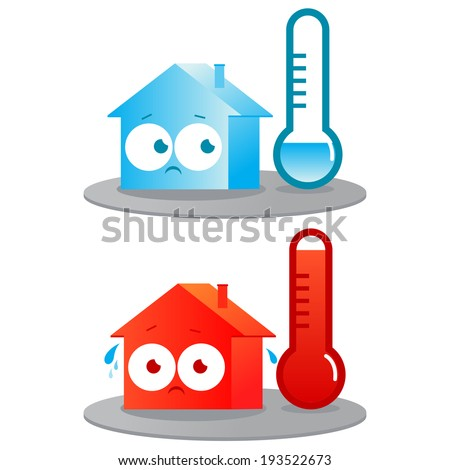 Hot and cold house. A very hot and cold house. Badly insulated buildings in extreme temperatures. - stock vector